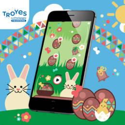 Écran de jeu de piste pour Troyes : Chasse aux oeufs de Pâques