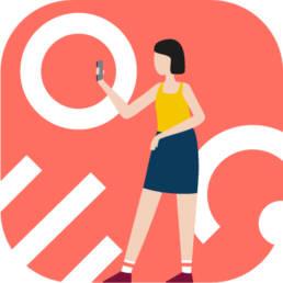 Illustration - Fille avec smartphone - Baludik